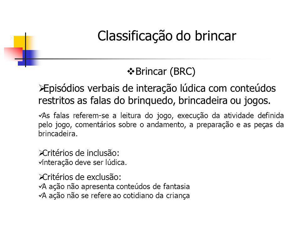 Brincar (BRC) Episódios verbais de interação lúdica com conteúdos restritos as falas do brinquedo, brincadeira ou jogos. As falas referem-se a leitura