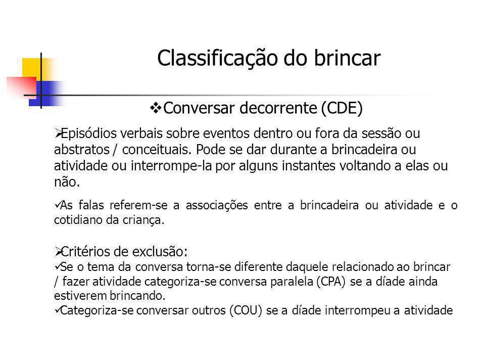 Conversar decorrente (CDE) Episódios verbais sobre eventos dentro ou fora da sessão ou abstratos / conceituais. Pode se dar durante a brincadeira ou a