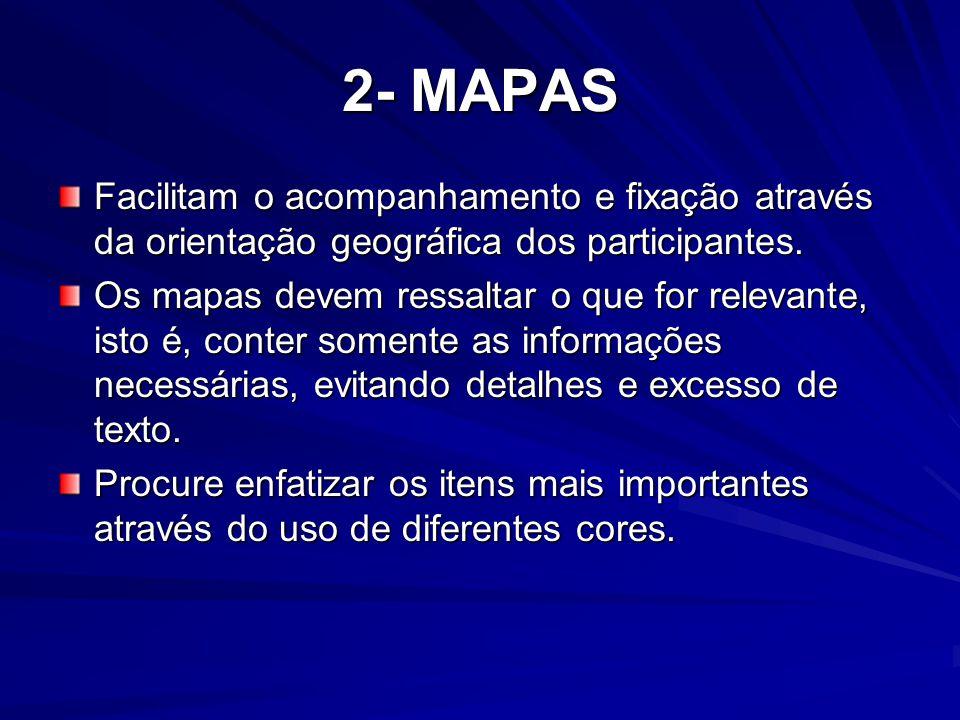 2- MAPAS Facilitam o acompanhamento e fixação através da orientação geográfica dos participantes. Os mapas devem ressaltar o que for relevante, isto é