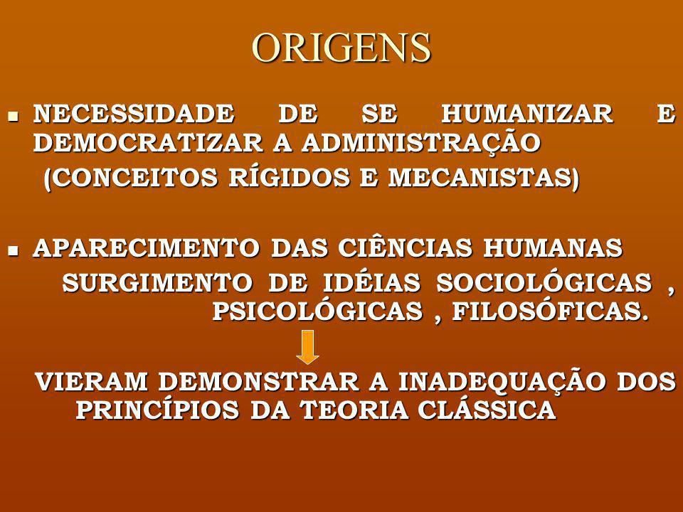 ESCOLA DE RELAÇÕES HUMANAS SURGIMENTO E.U.A A PARTIR DA DÉCADA DE 1930