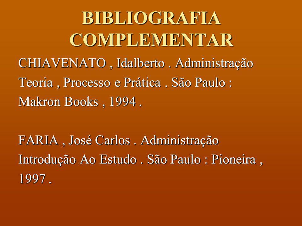 BIBLIOGRAFIA BÁSICA CHIAVENATO, Idalberto. Teoria Geral da Administração. São Paulo, Makron Books, 1998. SILVA, Reinaldo O.. Teorias da Administração.