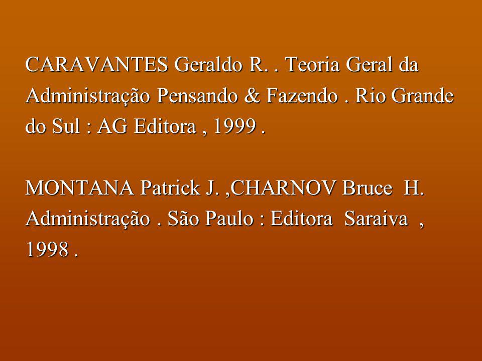 BIBLIOGRAFIA COMPLEMENTAR CHIAVENATO, Idalberto. Administração Teoria, Processo e Prática. São Paulo : Makron Books, 1994. FARIA, José Carlos. Adminis