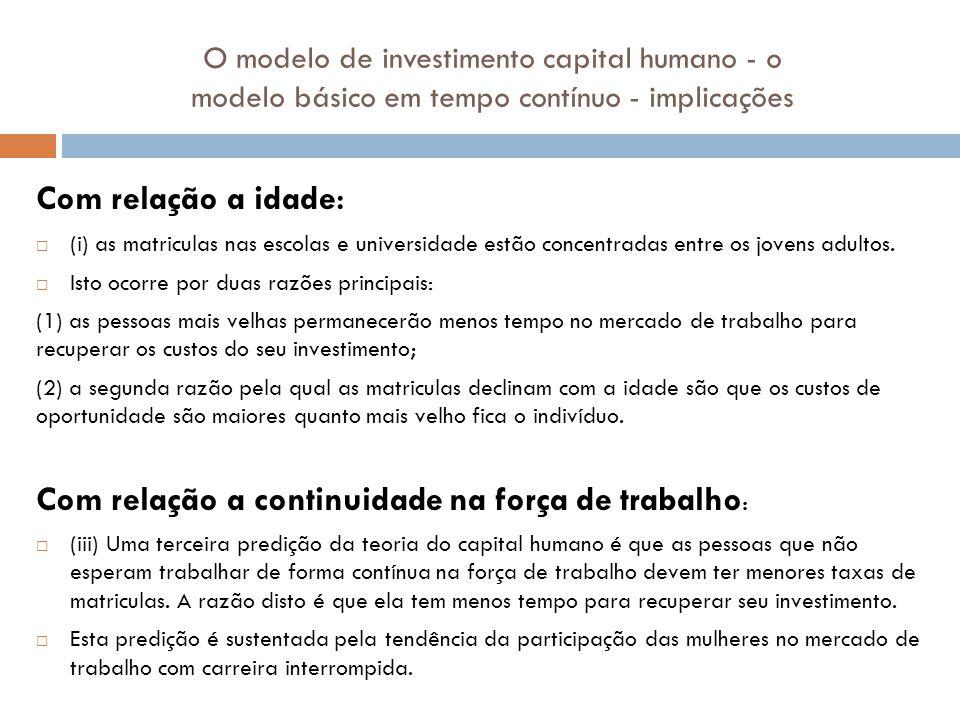 O modelo de investimento capital humano - o modelo básico em tempo contínuo - implicações Com relação a idade : (i) as matriculas nas escolas e univer
