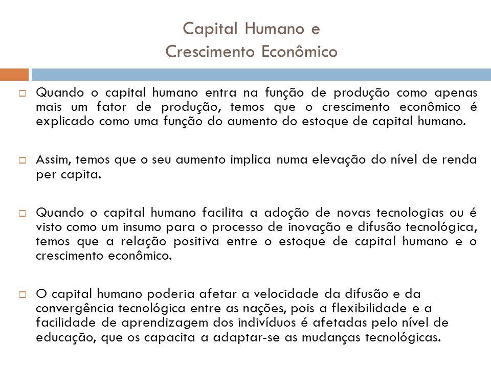 Capital Humano e Crescimento Econômico Quando o capital humano entra na função de produção como apenas mais um fator de produção, temos que o crescime