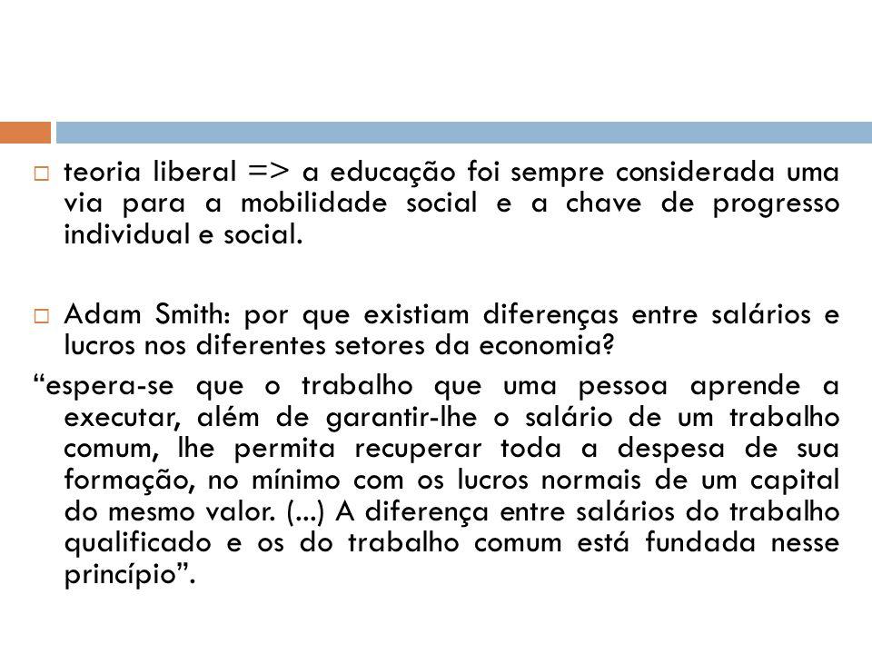 teoria liberal => a educação foi sempre considerada uma via para a mobilidade social e a chave de progresso individual e social. Adam Smith: por que e