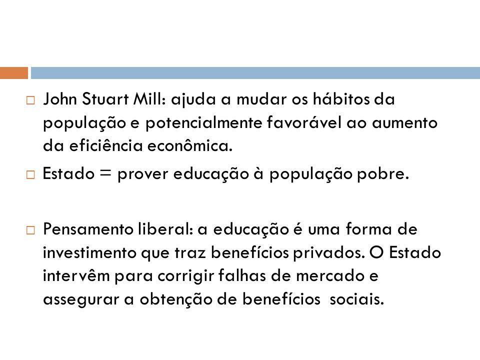 John Stuart Mill: ajuda a mudar os hábitos da população e potencialmente favorável ao aumento da eficiência econômica. Estado = prover educação à popu