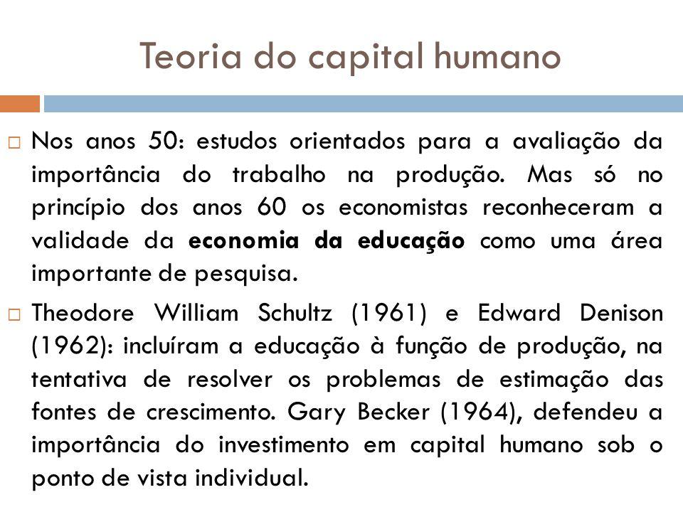 Teoria do capital humano Nos anos 50: estudos orientados para a avaliação da importância do trabalho na produção. Mas só no princípio dos anos 60 os e