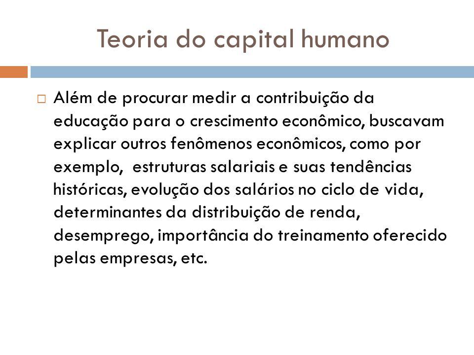 Teoria do capital humano Além de procurar medir a contribuição da educação para o crescimento econômico, buscavam explicar outros fenômenos econômicos