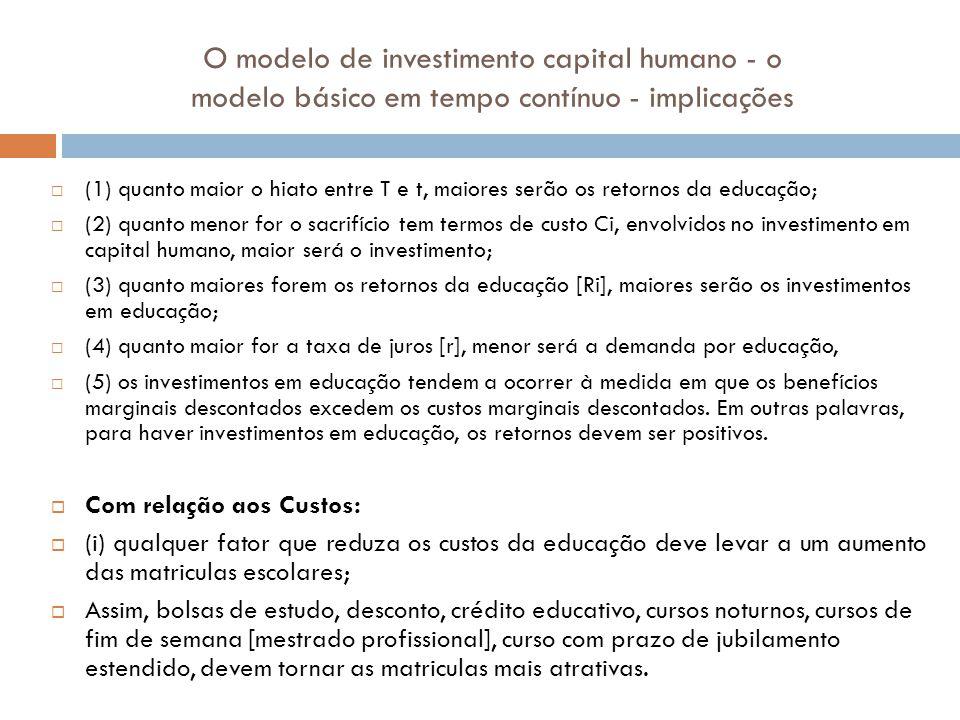 O modelo de investimento capital humano - o modelo básico em tempo contínuo - implicações (1) quanto maior o hiato entre T e t, maiores serão os retor