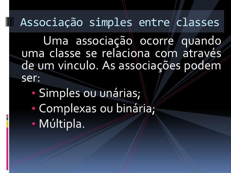 Uma associação ocorre quando uma classe se relaciona com através de um vinculo.
