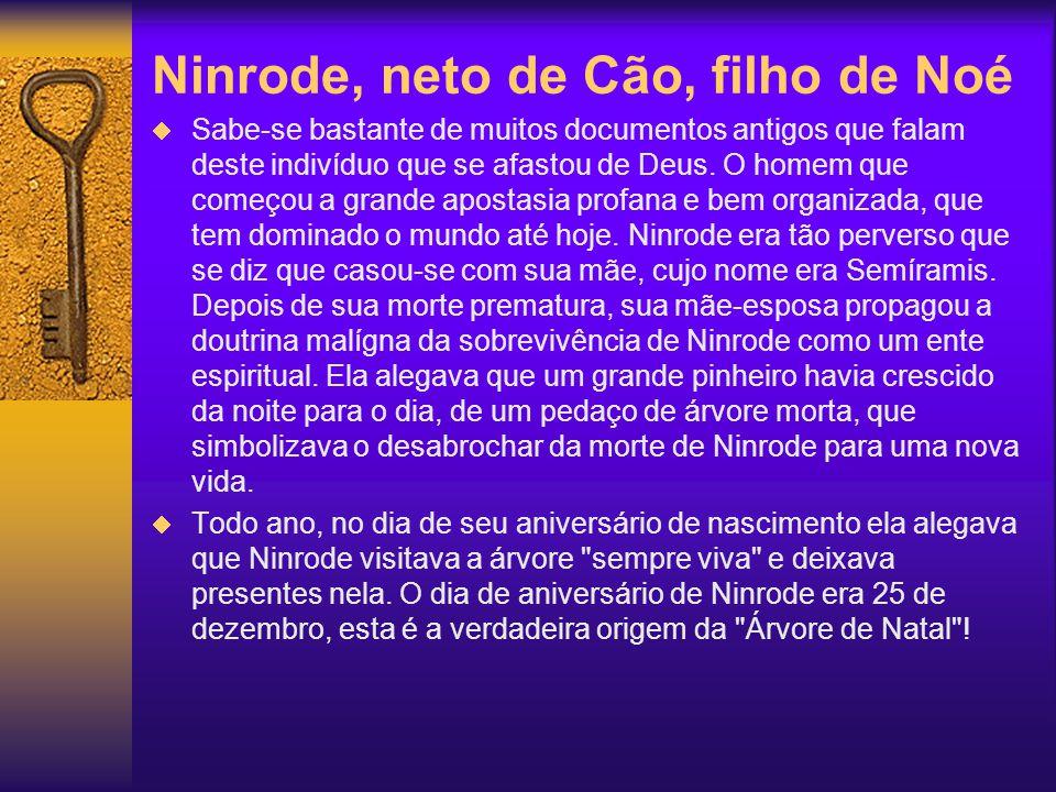 Ninrode, neto de Cão, filho de Noé Sabe-se bastante de muitos documentos antigos que falam deste indivíduo que se afastou de Deus. O homem que começou