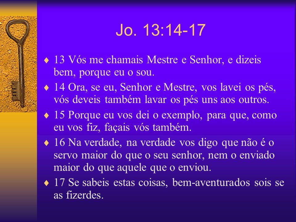 Jo. 13:14-17 13 Vós me chamais Mestre e Senhor, e dizeis bem, porque eu o sou. 14 Ora, se eu, Senhor e Mestre, vos lavei os pés, vós deveis também lav