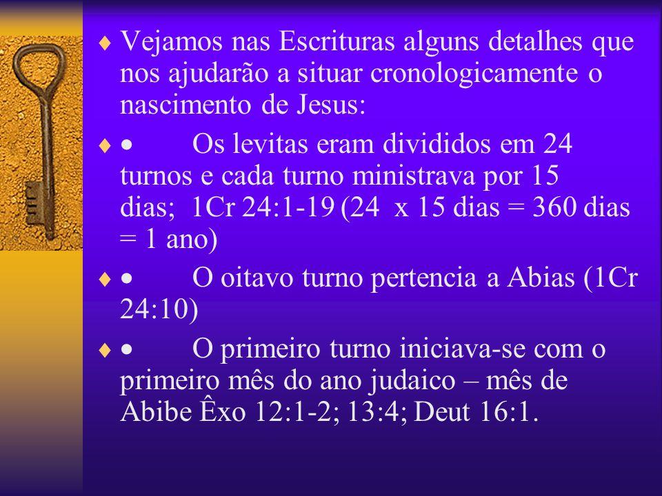 Vejamos nas Escrituras alguns detalhes que nos ajudarão a situar cronologicamente o nascimento de Jesus: Os levitas eram divididos em 24 turnos e cada