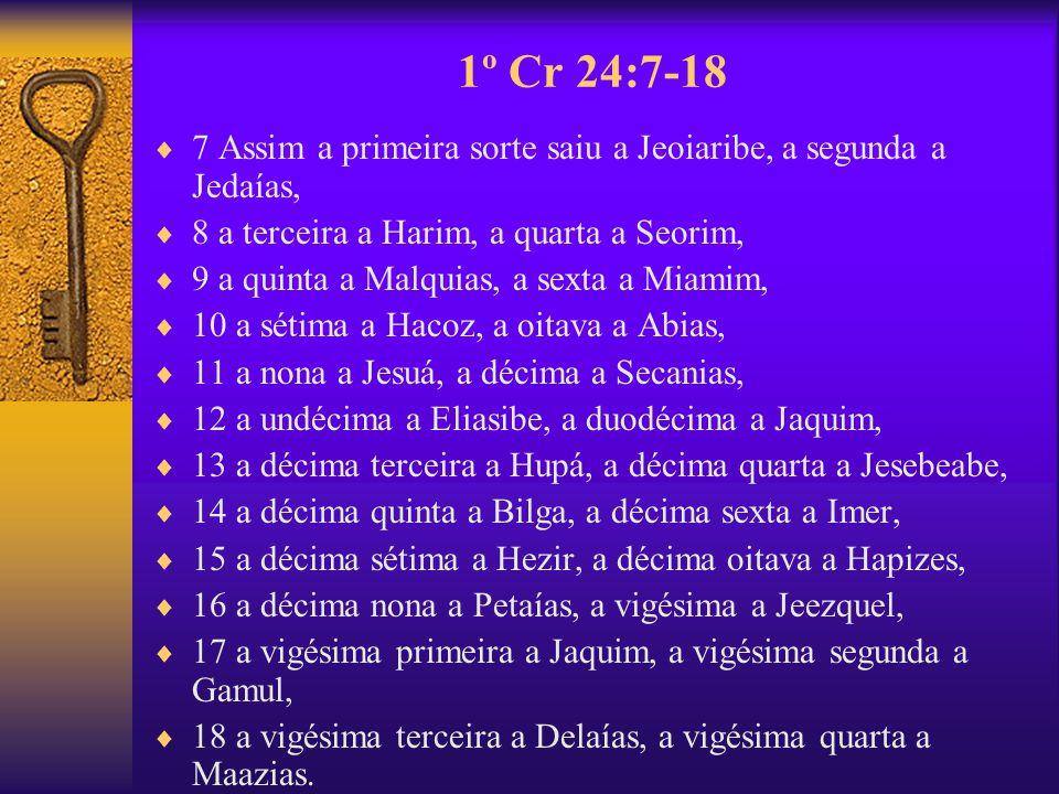 1º Cr 24:7-18 7 Assim a primeira sorte saiu a Jeoiaribe, a segunda a Jedaías, 8 a terceira a Harim, a quarta a Seorim, 9 a quinta a Malquias, a sexta