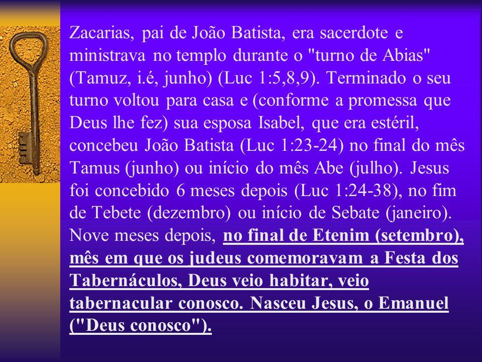 Zacarias, pai de João Batista, era sacerdote e ministrava no templo durante o