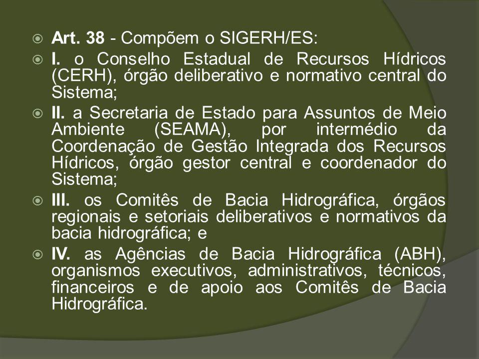 Art.38 - Compõem o SIGERH/ES: I.