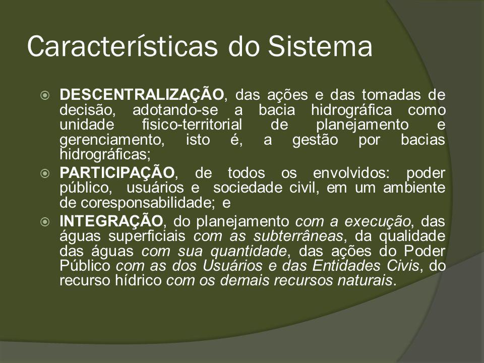Características do Sistema DESCENTRALIZAÇÃO, das ações e das tomadas de decisão, adotando-se a bacia hidrográfica como unidade fisico-territorial de planejamento e gerenciamento, isto é, a gestão por bacias hidrográficas; PARTICIPAÇÃO, de todos os envolvidos: poder público, usuários e sociedade civil, em um ambiente de coresponsabilidade; e INTEGRAÇÃO, do planejamento com a execução, das águas superficiais com as subterrâneas, da qualidade das águas com sua quantidade, das ações do Poder Público com as dos Usuários e das Entidades Civis, do recurso hídrico com os demais recursos naturais.