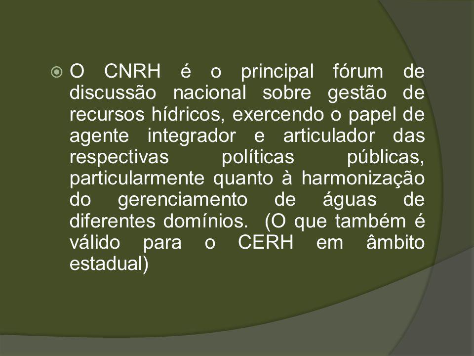 O CNRH é o principal fórum de discussão nacional sobre gestão de recursos hídricos, exercendo o papel de agente integrador e articulador das respectivas políticas públicas, particularmente quanto à harmonização do gerenciamento de águas de diferentes domínios.