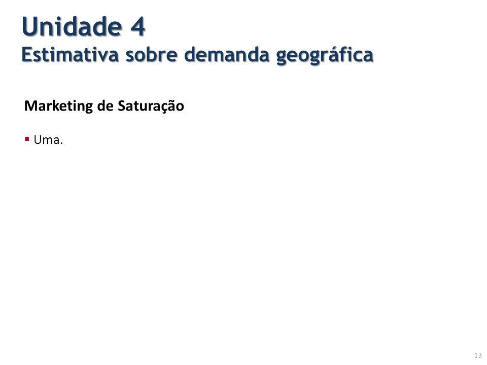 Marketing de Saturação Uma. Unidade 4 Estimativa sobre demanda geográfica 13