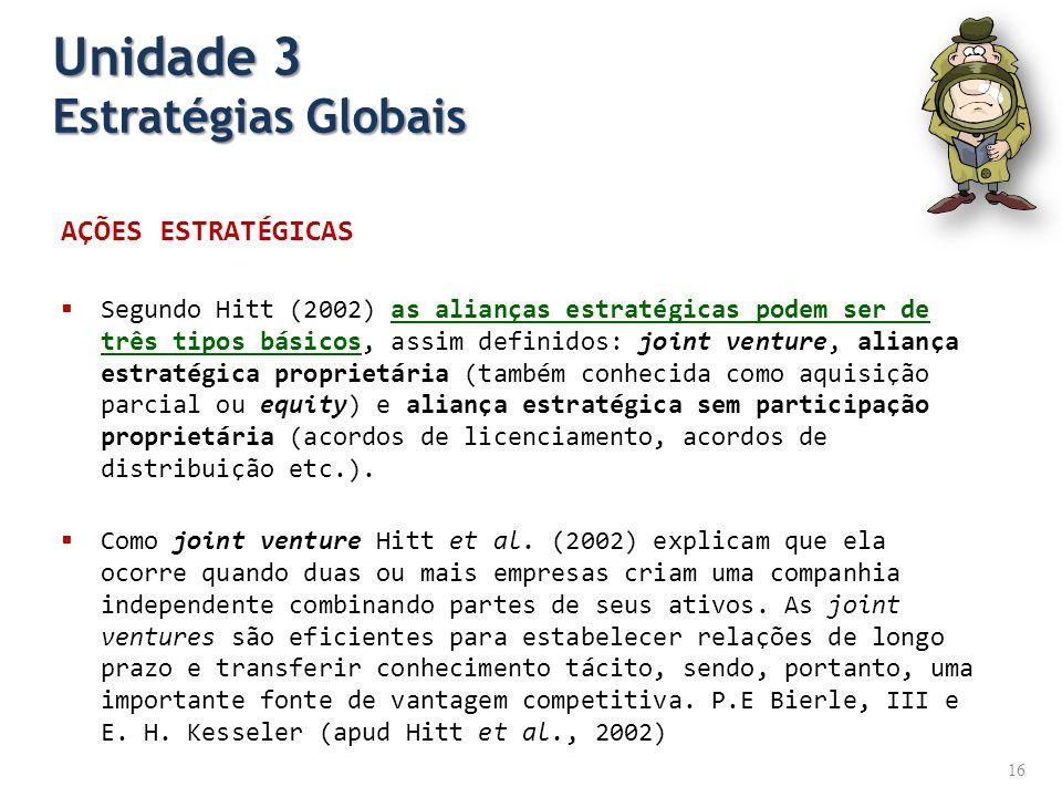 AÇÕES ESTRATÉGICAS Segundo Hitt (2002) as alianças estratégicas podem ser de três tipos básicos, assim definidos: joint venture, aliança estratégica p