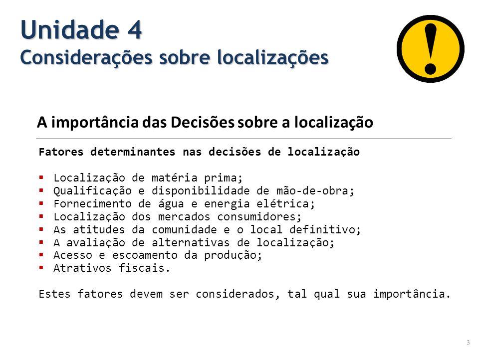 3 Fatores determinantes nas decisões de localização Localização de matéria prima; Qualificação e disponibilidade de mão-de-obra; Fornecimento de água
