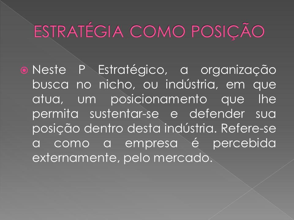 Neste P Estratégico, a organização busca no nicho, ou indústria, em que atua, um posicionamento que lhe permita sustentar-se e defender sua posição de