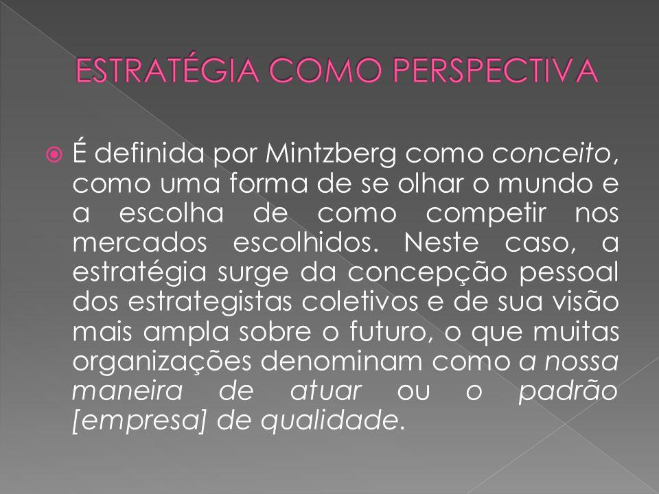 É definida por Mintzberg como conceito, como uma forma de se olhar o mundo e a escolha de como competir nos mercados escolhidos. Neste caso, a estraté