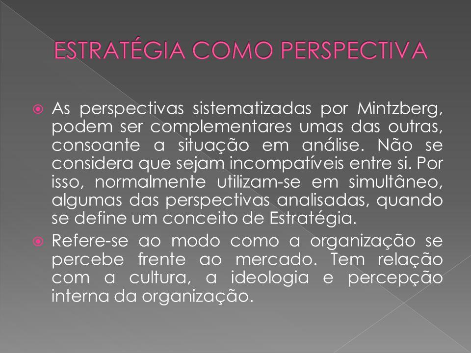 As perspectivas sistematizadas por Mintzberg, podem ser complementares umas das outras, consoante a situação em análise. Não se considera que sejam in