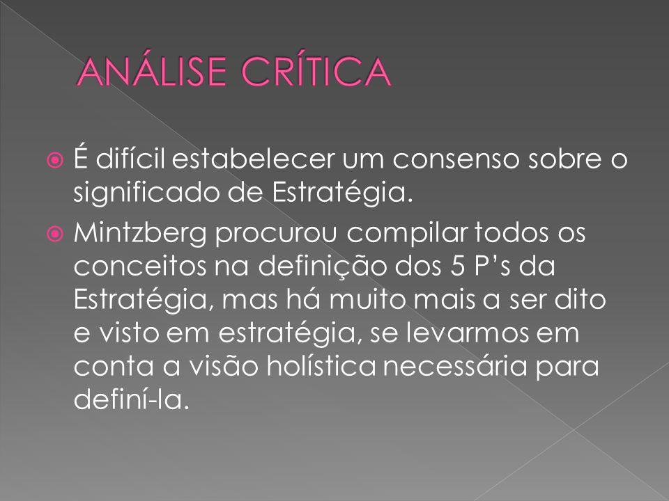É difícil estabelecer um consenso sobre o significado de Estratégia. Mintzberg procurou compilar todos os conceitos na definição dos 5 Ps da Estratégi