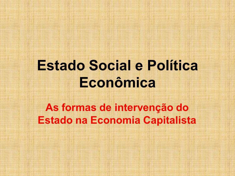 Estado Social e Política Econômica As formas de intervenção do Estado na Economia Capitalista