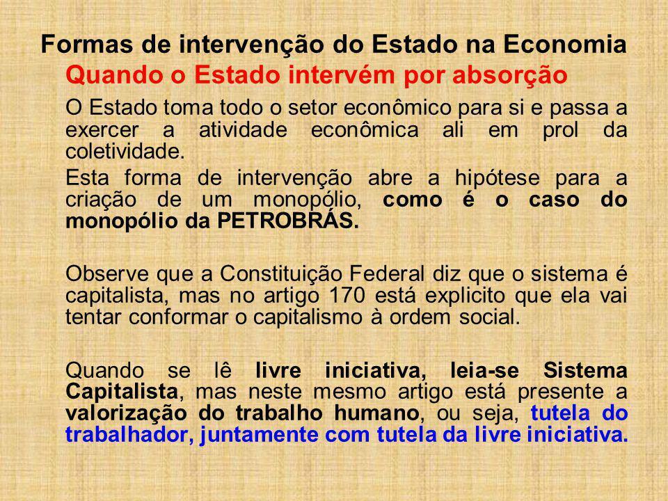 Formas de intervenção do Estado na Economia Quando o Estado intervém por absorção O Estado toma todo o setor econômico para si e passa a exercer a ati