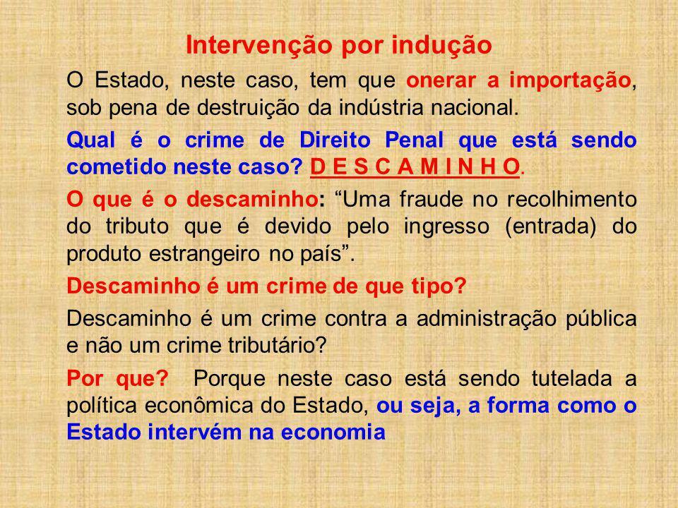 Intervenção por indução O Estado, neste caso, tem que onerar a importação, sob pena de destruição da indústria nacional. Qual é o crime de Direito Pen
