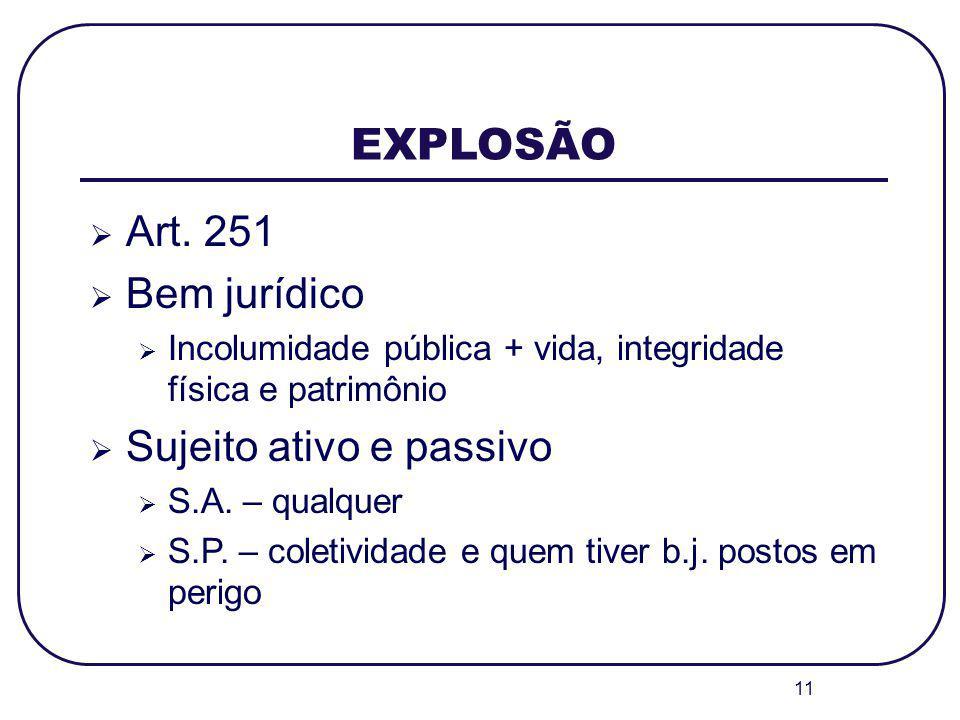 11 EXPLOSÃO Art. 251 Bem jurídico Incolumidade pública + vida, integridade física e patrimônio Sujeito ativo e passivo S.A. – qualquer S.P. – coletivi
