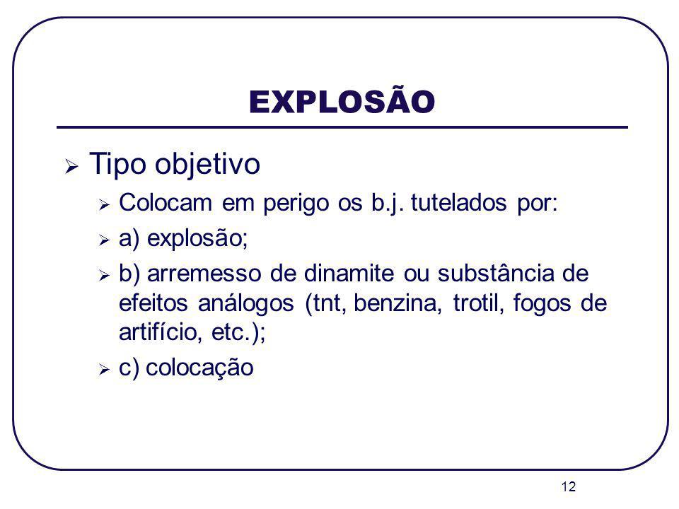 12 EXPLOSÃO Tipo objetivo Colocam em perigo os b.j. tutelados por: a) explosão; b) arremesso de dinamite ou substância de efeitos análogos (tnt, benzi