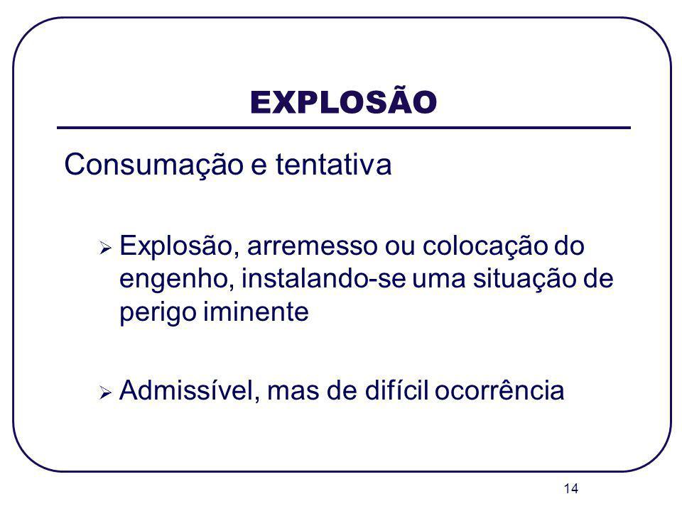 14 EXPLOSÃO Consumação e tentativa Explosão, arremesso ou colocação do engenho, instalando-se uma situação de perigo iminente Admissível, mas de difíc
