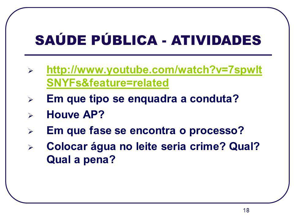 18 SAÚDE PÚBLICA - ATIVIDADES http://www.youtube.com/watch?v=7spwlt SNYFs&feature=related http://www.youtube.com/watch?v=7spwlt SNYFs&feature=related