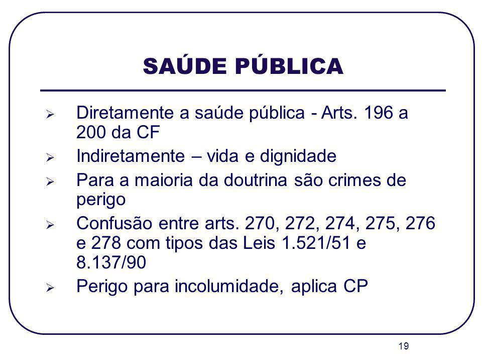 19 SAÚDE PÚBLICA Diretamente a saúde pública - Arts. 196 a 200 da CF Indiretamente – vida e dignidade Para a maioria da doutrina são crimes de perigo