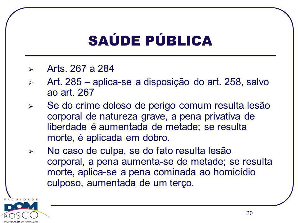 20 SAÚDE PÚBLICA Arts. 267 a 284 Art. 285 – aplica-se a disposição do art. 258, salvo ao art. 267 Se do crime doloso de perigo comum resulta lesão cor