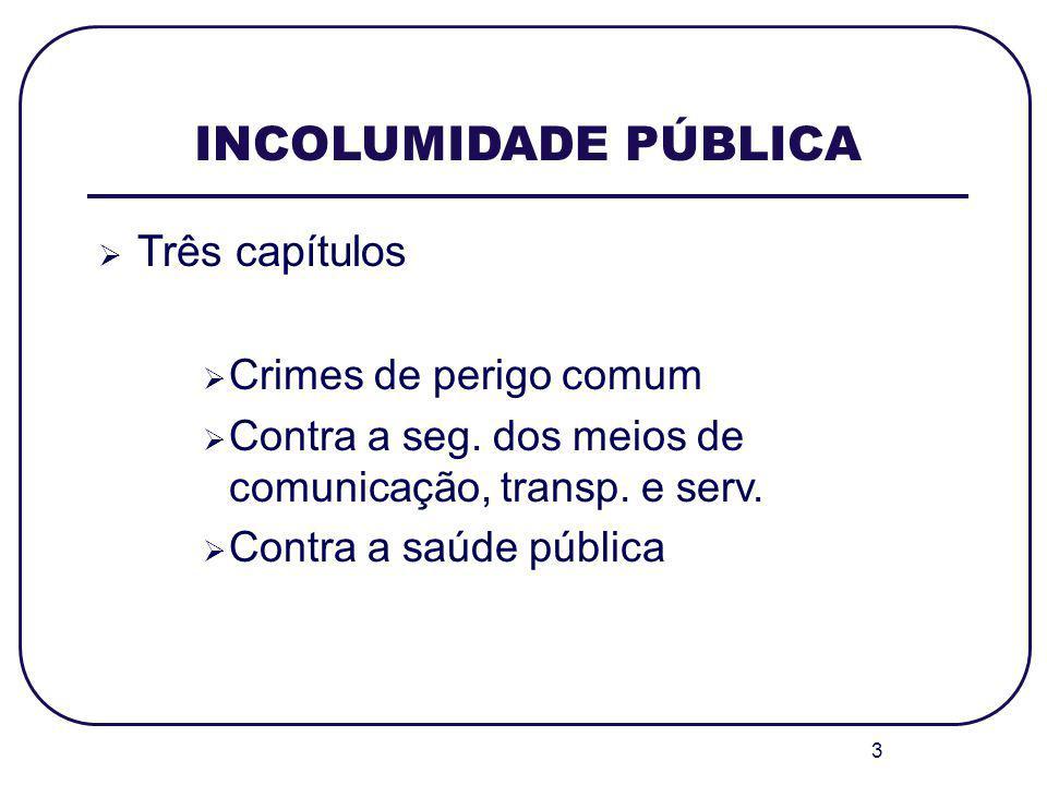 3 INCOLUMIDADE PÚBLICA Três capítulos Crimes de perigo comum Contra a seg. dos meios de comunicação, transp. e serv. Contra a saúde pública