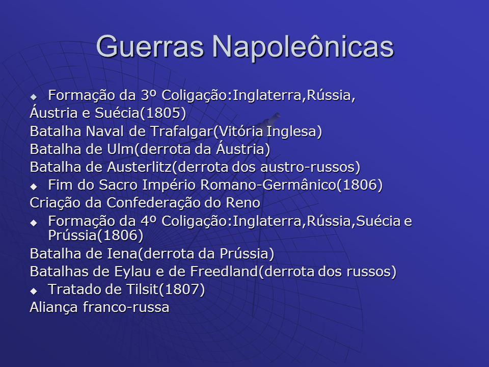 Guerras Napoleônicas Formação da 3º Coligação:Inglaterra,Rússia, Formação da 3º Coligação:Inglaterra,Rússia, Áustria e Suécia(1805) Batalha Naval de T