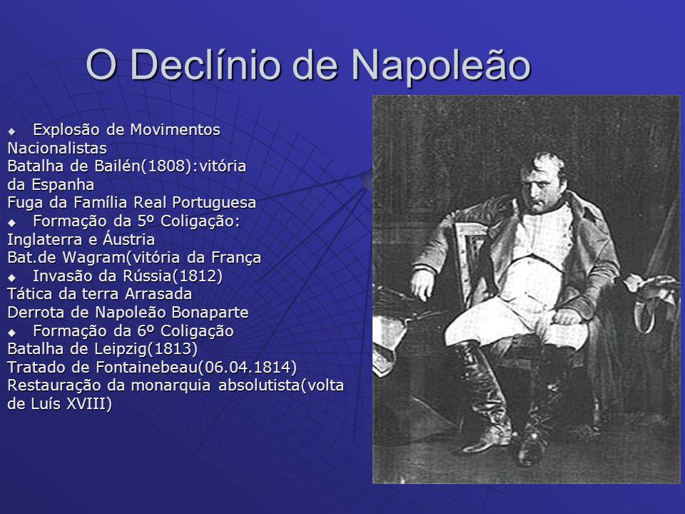 O Declínio de Napoleão Explosão de Movimentos Explosão de MovimentosNacionalistas Batalha de Bailén(1808):vitória da Espanha Fuga da Família Real Port