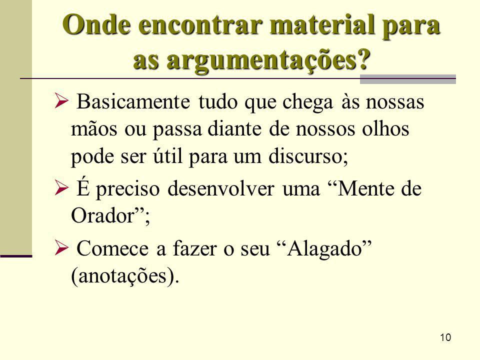 10 Onde encontrar material para as argumentações? Basicamente tudo que chega às nossas mãos ou passa diante de nossos olhos pode ser útil para um disc