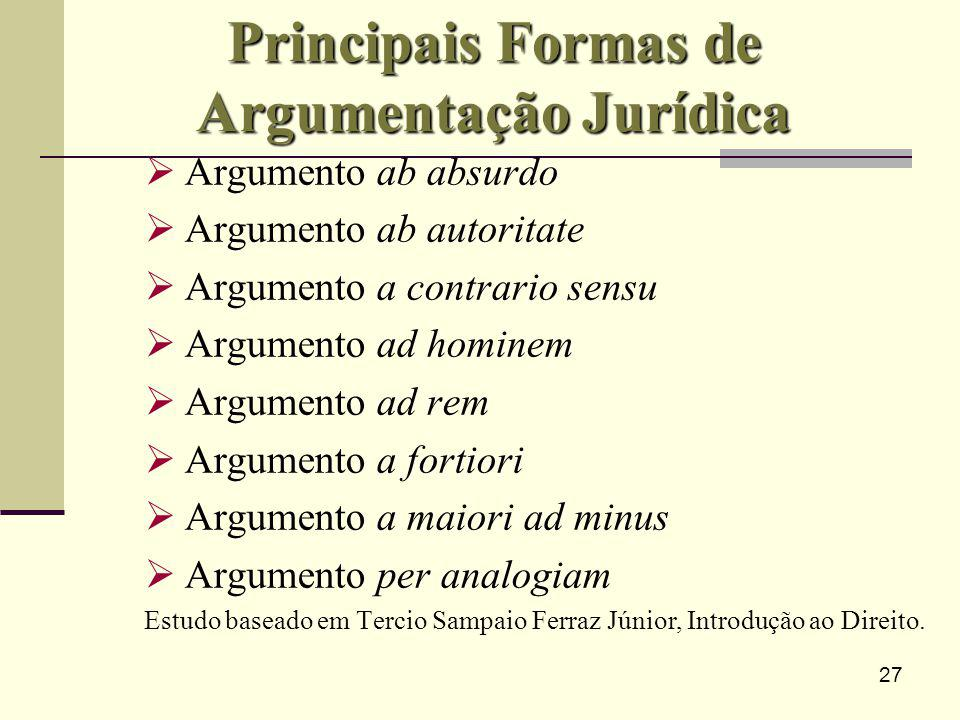27 Principais Formas de Argumentação Jurídica Argumento ab absurdo Argumento ab autoritate Argumento a contrario sensu Argumento ad hominem Argumento