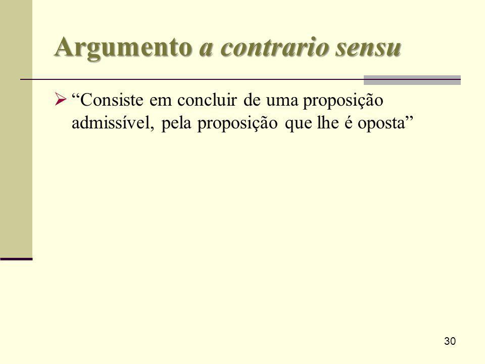 30 Argumento a contrario sensu Consiste em concluir de uma proposição admissível, pela proposição que lhe é oposta