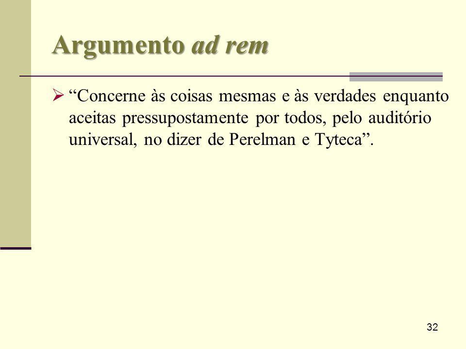 32 Argumento ad rem Concerne às coisas mesmas e às verdades enquanto aceitas pressupostamente por todos, pelo auditório universal, no dizer de Perelma