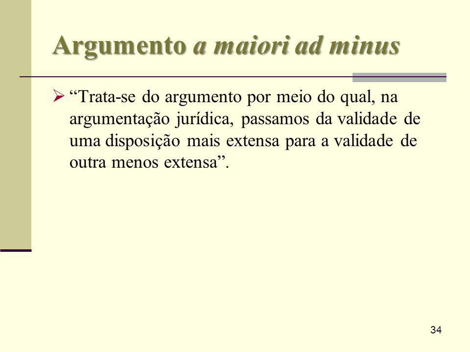 34 Argumento a maiori ad minus Trata-se do argumento por meio do qual, na argumentação jurídica, passamos da validade de uma disposição mais extensa p