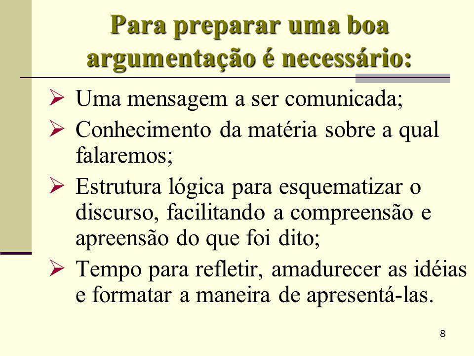 8 Para preparar uma boa argumentação é necessário: Uma mensagem a ser comunicada; Conhecimento da matéria sobre a qual falaremos; Estrutura lógica par