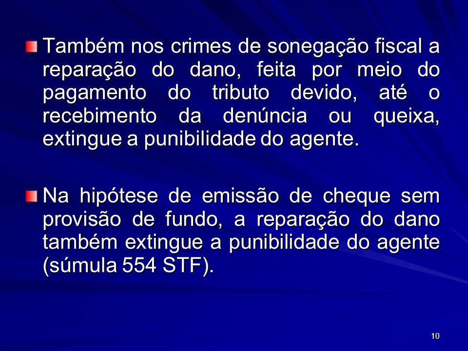 10 Também nos crimes de sonegação fiscal a reparação do dano, feita por meio do pagamento do tributo devido, até o recebimento da denúncia ou queixa,