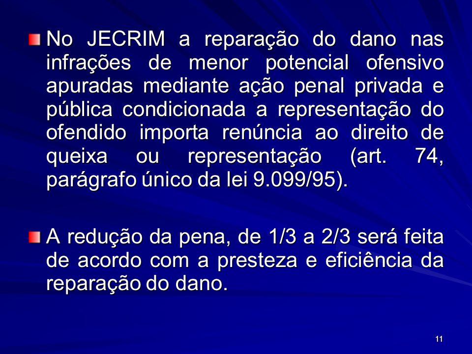 11 No JECRIM a reparação do dano nas infrações de menor potencial ofensivo apuradas mediante ação penal privada e pública condicionada a representação