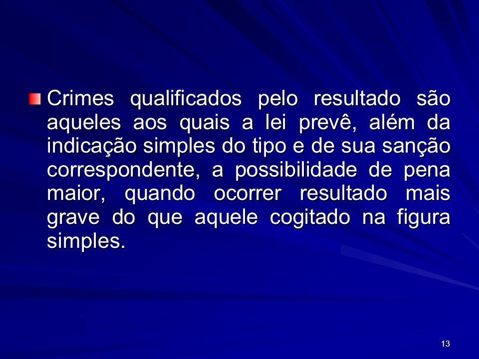 13 Crimes qualificados pelo resultado são aqueles aos quais a lei prevê, além da indicação simples do tipo e de sua sanção correspondente, a possibili
